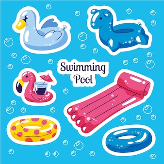 Inflatable swimming set. cute water toys stickers