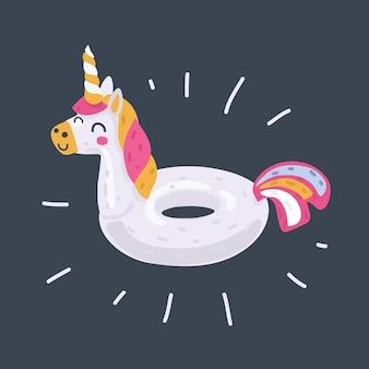 Inflatable unicorn on dark