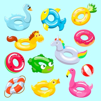 Inflatable vector inflated swimming ring and life-ring in pool for summer vacation illustration set