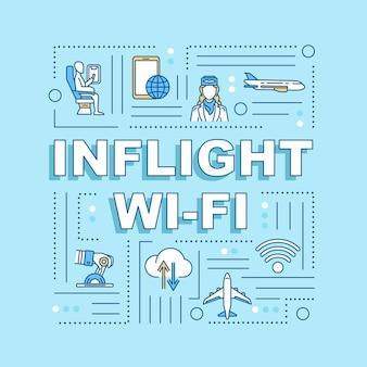 機内wi-fiワードコンセプトバナー。一時的なローマー、便利なサービス。青い背景に線形アイコンとインフォグラフィック。孤立したタイポグラフィ。ベクトルアウトラインrgbカラーイラスト