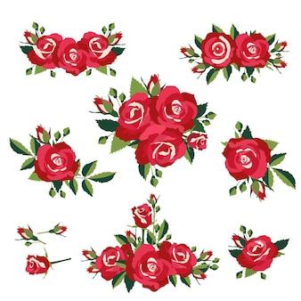 꽃이 핌 또는 장미 벡터 일러스트 레이 션의 꽃다발