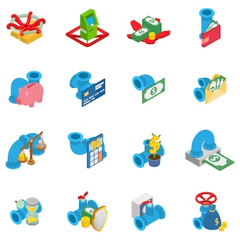Inflow of money icons set, isometric style