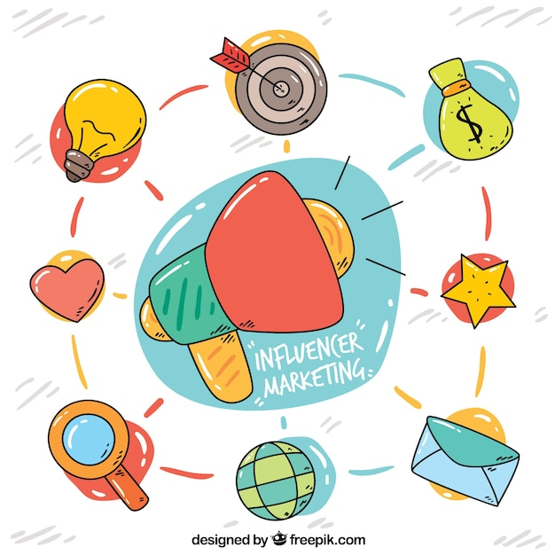 Influence marketing concept with various symbols