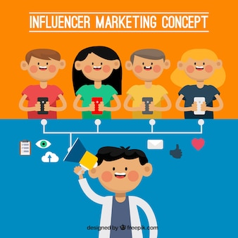 Influence marketing design with five persons