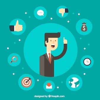 Influence marketing design with smart man