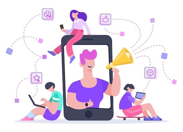 인플 루 언서 광고 마케팅. 소셜 미디어 프로모션, 전화 화면 영향력 또는 블로거 인터넷 광고 프로모션 그림. 온라인 블로거, 디지털 smm, 웹 마케팅
