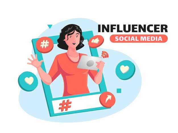 인플루언서 및 소셜 미디어 개념 홍보