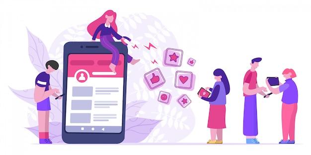 인플 루 언서가 좋아합니다. 블로거는 큰 자석을 사용하여 좋아요, 평가 및 추종자를 끌어들입니다. 소셜 미디어 마케팅 개념 그림입니다. 마케팅 영향력, 공유 및 홍보 소셜
