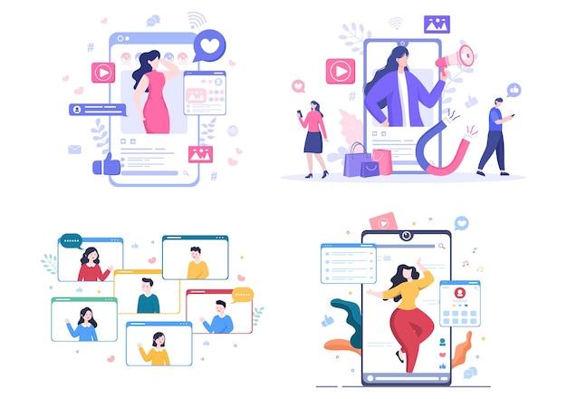 인플루언서 블로거 콘텐츠 작성자 소셜 네트워크에서 순간을 공유하거나 포스터 벡터 일러스트에 포스트를 만드는 배경
