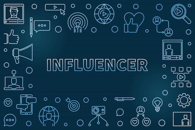 Influencer concept outline illustration with frame