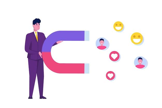 Концепция цифрового маркетинга влияния, взаимодействие с последователями, социальная кампания.