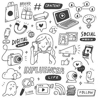 Набор influencer doodle