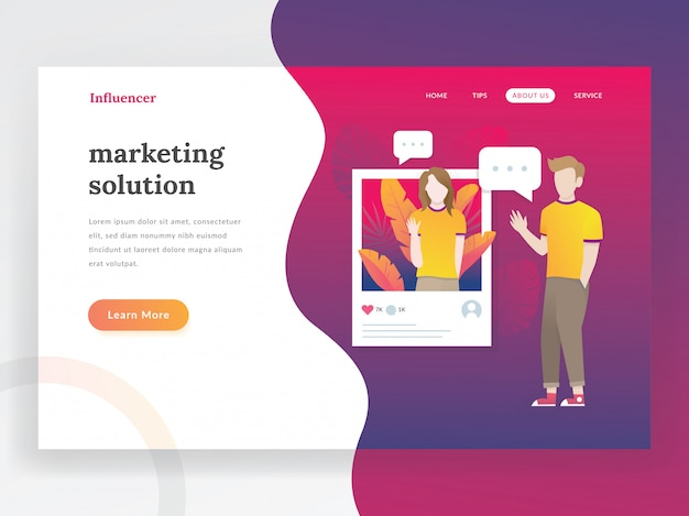 Influencer landing page