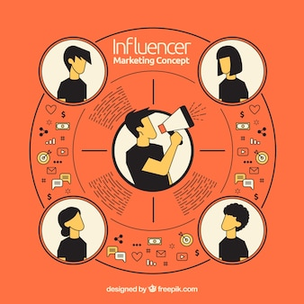 Influencer marketing concept with loudspeaker