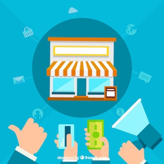 Influencer marketing concept with shop