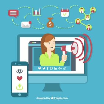 Influencer marketing concept with woman in monitor