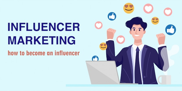 Influencer marketing concept, a young businessman watching a live streaming. vector