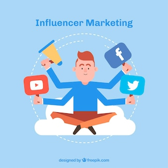 Influencer marketing design with man with four arms