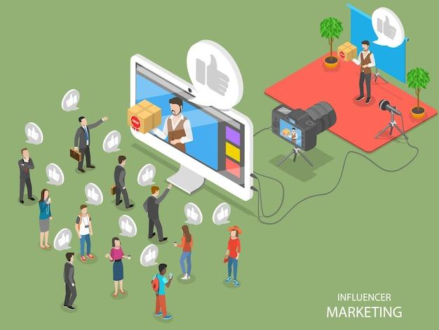 Плоская изометрическая концепция влиятельного маркетинга
