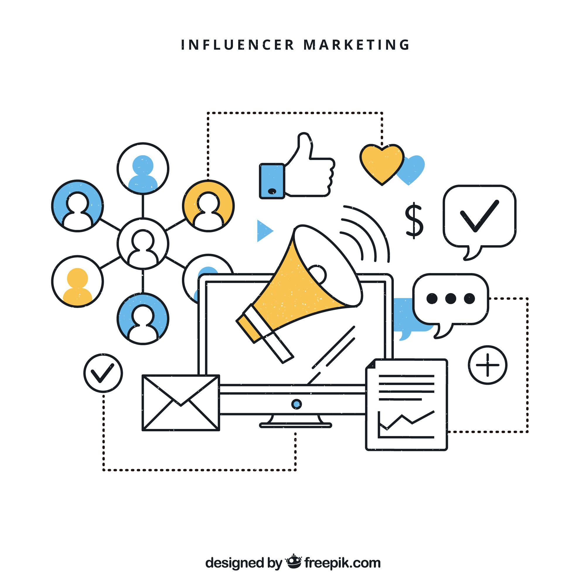 Influencer marketing infographic vector