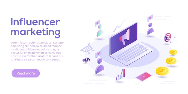 Influencer marketing isometric. blog advertising goods via internet social media. website or blog ad influence on potential buyers.