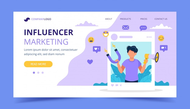 Influencer marketing landing page with man holding megaphone and magnet in the social profile frame.
