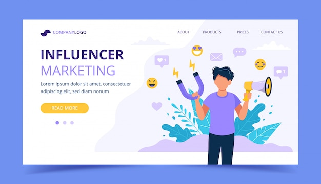 Influencer marketing landing page with man holding megaphone and magnet