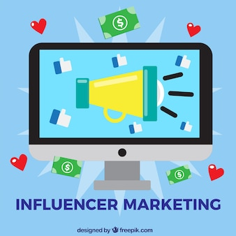 Influencer marketing vector with computer screen
