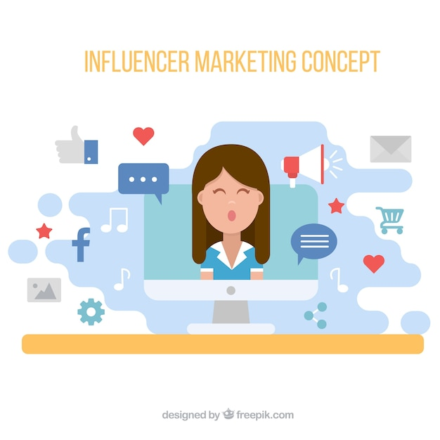 Influencer marketing vector with woman on screen