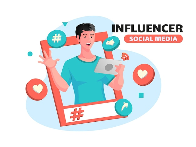 Influencer and promote social media concept