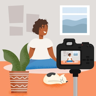 Influencer recording new video illustration concept