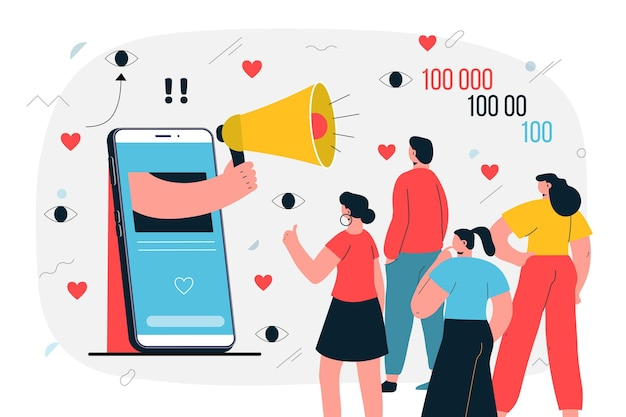 Influencer sull'illustrazione dei social media