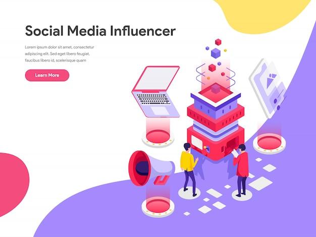 Концепция иллюстрации социальных медиа influencer