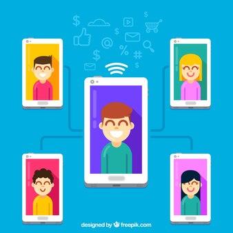 Концепция маркетинга influencer со связанными смартфонами