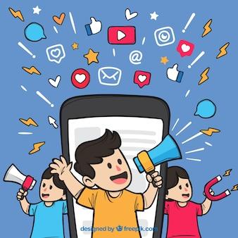 Концепция маркетинга influencer с лицами, владеющими спикерами