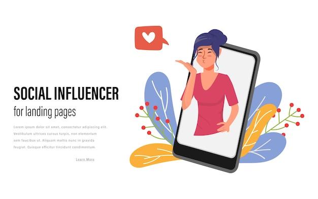 Социальные медиа influencer фон для веб-целевых страниц. веб-тренд социальной коммуникации.
