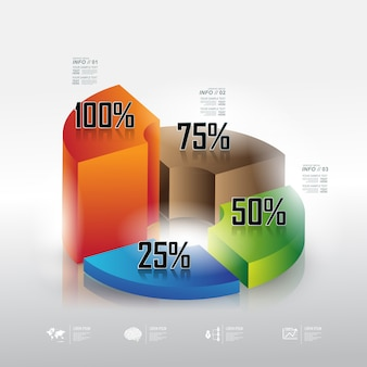 Info graphic background with percentage pie chart