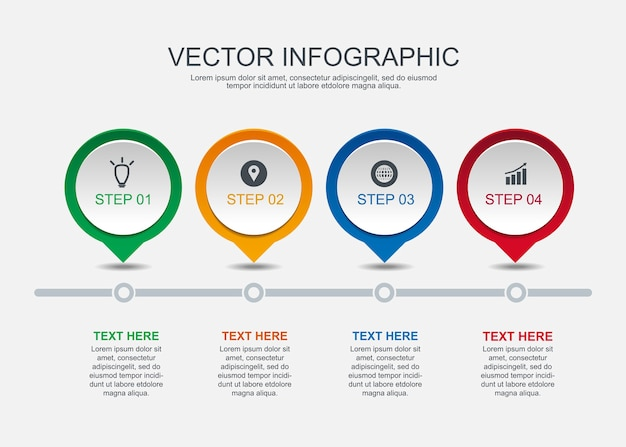 Info graphic design with 4 options circles