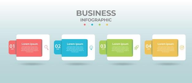 네 가지 옵션 또는 단계가있는 정보 그래픽 디자인.