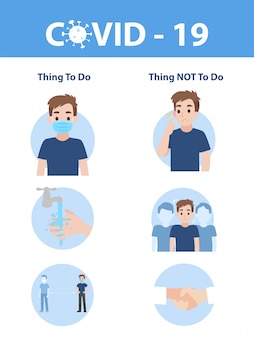 Info graphic elements the signs and corona virus, thing to do and thing not to do of covid - 19