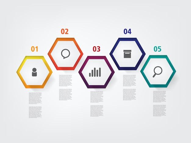 Info graphic layout design template with step and information