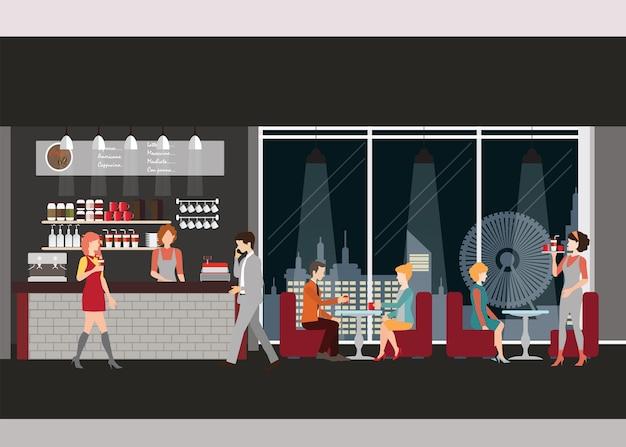 커피 숍의 정보 그래픽.