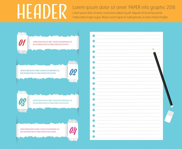 Info graphic template tearing note paper