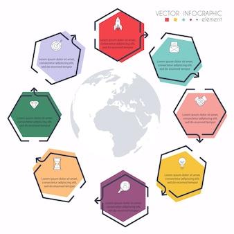 ビジネスプレゼンテーションの情報グラフィック。 webサイトのレイアウト、番号付きバナー、図、水平カットアウトライン、webに使用できます。
