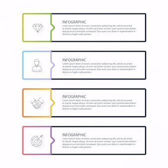 ビジネスプレゼンテーションの情報グラフィック。使用できるwebサイトのレイアウト、番号付きバナー、図、水平カットアウトライン、web。