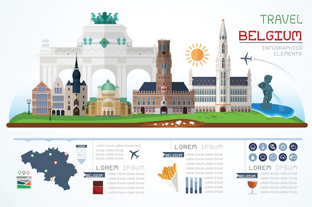 Info graphics travel and landmark belgium template design. concept illustration.