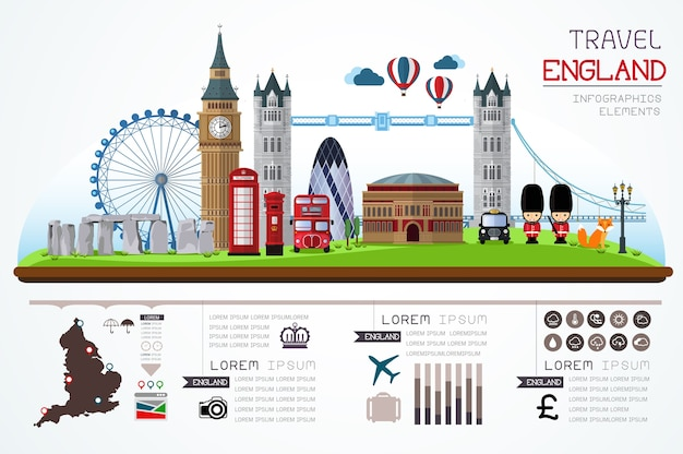 Info graphics travel and landmark england template design.