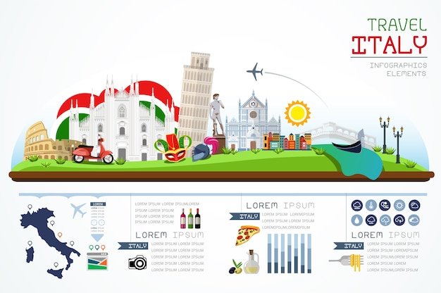 Info graphics travel and landmark italy template design.