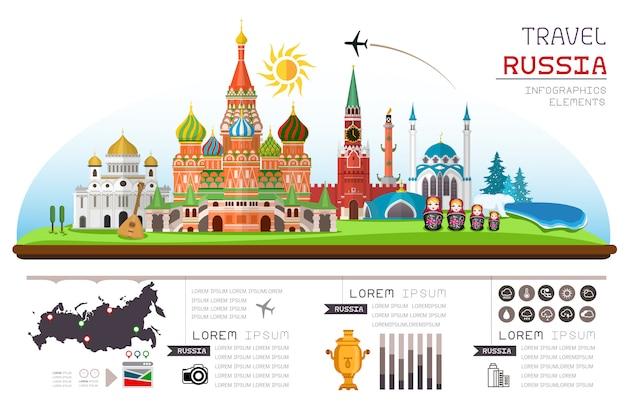Info graphics travel and landmark of russia