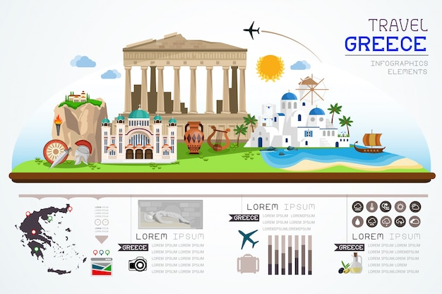 Info graphics travel and landmarks of greece